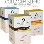 Relumins Premium Collagen Blend - With Glutathione, Green Tea Extract and CoQ10 -  Pineapple or Blueberry or Vanilla Flavor