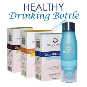 Relumins Premium Collagen Blend With Relumins Water Infuser Bottle - Pineapple Or Blueberry Or Vanilla Flavor