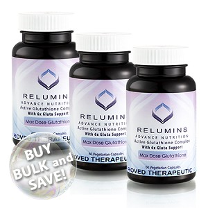 Buy Bulk & SAVE! 3 Bottles Authenic Relumins Advance White Active Glutathione Complex - Oral Whitening Formula Capsules with 6X Boosters