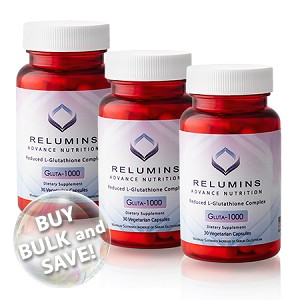 Buy Bulk & SAVE! 3 Bottles Relumins Advance Nutrition Gluta 1000 - Reduced L-Glutathione Complex - 30 CAPS