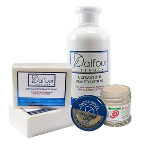 Authentic Dalfour Beauty Whitening Set - Dalfour Lotion SPF 50+, Ultrawhite Beauty Soap and Dalfour Excel Whitening Cream