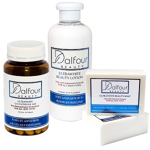Dalfour Beauty Glutathione Ultrawhite Set - Glutathione Capsules, Body Lotion with SPF50+   & Soap