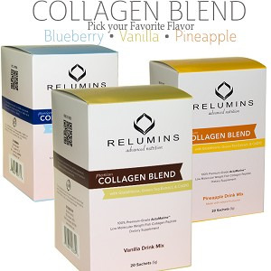 Relumins Premium Collagen Blend - With Glutathione, Green Tea Extract and CoQ10 - Pineapple or Blueberry or Vanilla