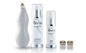 Riiviva Microdermabrasion Face Kit with Microderm Device, Cleanser, Serum and Tips