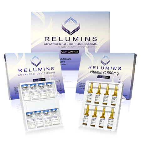 Relumins Advance White Gluta 2000mg 8vials with - Glutathione & Vitamin C - Whitens, repairs & rejuvenates skin - Sublingual