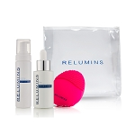 New! Relumins Advance Skin Perfection Set - Clarifying Foaming Cleanser, AHA Serum, Massager