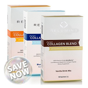 SAVE NOW!! Relumins Premium Collagen Blend - With Glutathione, Green Tea Extract and CoQ10 -  Pineapple or Blueberry or Vanilla Flavor