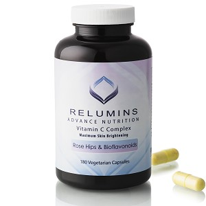Relumins Advance Vitamin C - MAX Skin Whitening Complex With Rose Hips & Bioflavonoids - 180 Capsules